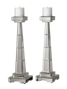 Uttermost Alanna Mirrored Candleholders, Set/2 19597