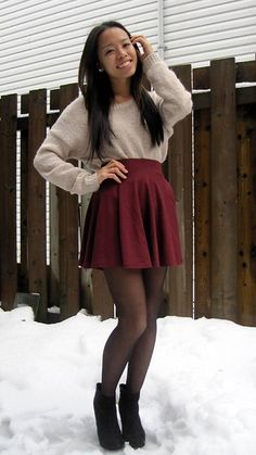 big sweater and small skirt