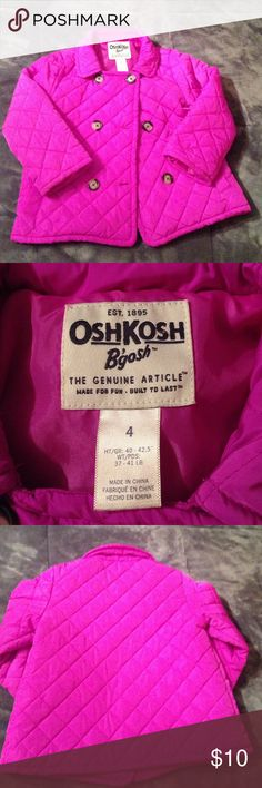 Girls 4 Pea coat fuchsia Little more purple than magenta so I am calling it fuchsia. Beautiful coat no matter what you call the color. Light weight pea coat Size 4 Osh Kosh Jackets & Coats Pea Coats