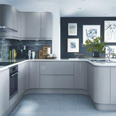 Dark slate grey and white with grey/cashmere kitchen G Benchmarx Kitchen, Open Plan Kitchen Dining Living, Kitchen Units, Home Decor Kitchen, Kitchen Interior, Home Kitchens, Kitchen Ranges, Howdens Kitchens, Kitchen Ideas