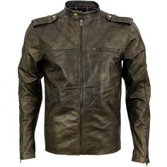 Distressed Beige Cafe Racer Leather Jacket - Brad | by VIPARO
