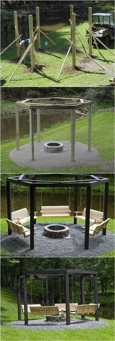 DIY Backyard Fire Pit with Swing Seats #backyard #home_improvement #bunkerplans #diyhomedecor