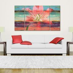 Ready2hangart Alexis Bueno 'Painted Petals IX' 3-piece Canvas Wall Art ($172) ❤ liked on Polyvore featuring home, home decor, wall art, pink, 3 pc canvas wall art, canvas art set, three piece wall art, vertical canvas wall art and pink canvas wall art