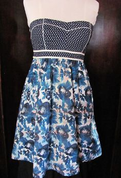 Kimchi Blue Blue Floral Strapless Dress Pockets Size 6 #KimchiBlue #Sheath #Casual
