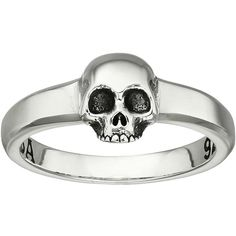 King Baby Studio Hamlet Skull Ring (Silver) Ring ($110) ❤ liked on Polyvore featuring jewelry, rings, skull, skull jewellery, skull ring, king baby studio, silver rings and silver jewelry
