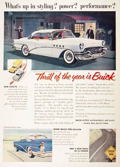 1955 Buick Riviera Roadmaster vintage ad. Equipped with 236 h.p. V8 power and standard Dynaflow Drive. The thrill of the year is Buick.