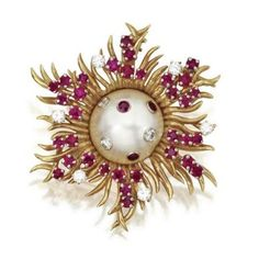 18 Karat Gold, Mabé Pearl, Ruby and Diamond Brooch, Schlumberger for Tiffany & Co.. photo Sotheby's