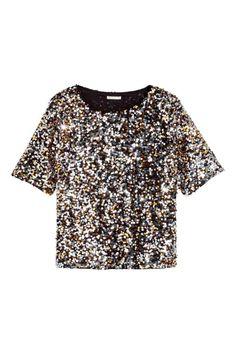 Blusa de lentejuelas  Blusa de malla con bordado de lentejuelas b8cd92dc11dc7