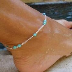 1pcs Women/'s Handmade Shell Beads Turquoise Silver Plated Chain Anklet Bracelets