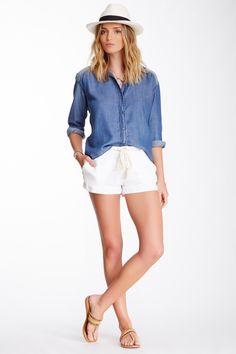 Blue Shirt + White shorts = Nice weekend style.