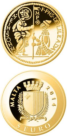 N♡T.5 euro: The Zecchino.Country: Malta Mintage year: 2014 Issue date: 25.03.2014 Face value: 5 euro Diameter: 11.00 mm Weight: 0.50 g Alloy: Gold Quality: Proof Mintage: 10,000 pc proof Design: Jari Lepistö