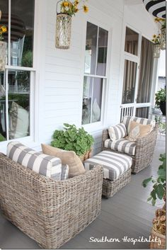 Ballard House front porch This is cute! 1 for U 1 for HY sharing ottoman! Too cute