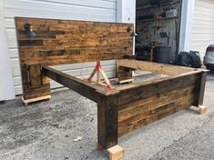 Rustic Bed Set (Headboard, Footboard, Bed Frame, 2 Cabinets and 2 USB Outlets) Queen Size Headboard, King Size Bed Frame, Queen Headboard, Headboard And Footboard, Diy Queen Bed Frame, Headboard Ideas, Rustic Wood Headboard, Modern Headboard, Distressed Headboard