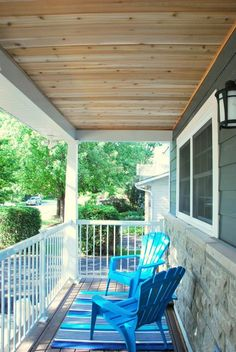Check out how we completed a DIY cedar lined porch ceiling on our home. Step by step instructions and photos to guide you through the process! Pergola Swing, Deck With Pergola, Wooden Pergola, Pergola Plans, Diy Pergola, Pergola Ideas, Porch Ideas, Patio Ideas, Porch Ceiling