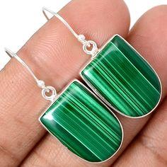 Malachite 925 Sterling Silver Earrings Jewelry MLAE554