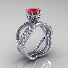 14k white gold blue sapphire diamond unusual by DesignMasters, $1390.00