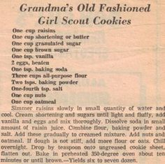 Grandma's Old Fashioned Girl Scout Cookies Recipe: All homemade shortbread recip. - Grandma's Old Fashioned Girl Scout Cookies Recipe: All homemade shortbread recipes are better tha - Retro Recipes, Old Recipes, Vintage Recipes, Cookbook Recipes, Recipies, Family Recipes, Homemade Shortbread, Shortbread Recipes, Cookie Desserts