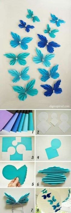 Diy Paper Accordion Butterflies - 10 Easy Paper DIYs to Soothe Your Crafting Needs Diy Butterfly Decorations, Butterfly Crafts, Diy Party Decorations, Paper Decorations, Butterfly Mobile, Origami Butterfly, Paper Butterflies, Giant Paper Flowers, Diy Flowers