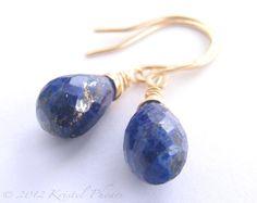 Lapis Earrings SALE - Dangle earrings genuine lapis lazuli drop cobalt blue 14k gold-filled or sterling September Birthstone jewelry. $35.00, via Etsy.