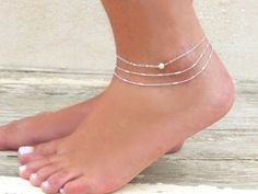 Delicate Silver Ankle Bracelet Silver Bead Anklet by annikabella - SINNE - Bracelets Silver Ankle Bracelet, Ankle Bracelets, Silver Bracelets, Silver Earrings, Onyx Necklace, Sterling Silver Anklet, Silver Anklets, Beaded Anklets, Women's Anklets