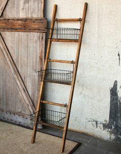 Ladder plus metal buckets