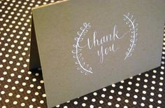 Thank You | Modern Calligraphy Hand-Lettered Card or Note | Kraft + White Ink | Blank Inside | Complete with Envelope