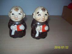 """Rare Goebel """"Frair Tuck"""" Monks Thornburg Collection 1950s Salt & Pepper Shakers"""