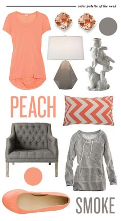 Love that gray tufted chair with the peach chevron pillow.