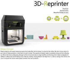 3D-Reprinter es una impresora 3D diseñada por Yangzi Qin, Yingting Wang, Luckas Fischer y Hanying Xie, que utiliza botellas y otros deshechos de plástico como materia prima. Introduces las botellas, las tritura y crea los objetos con el producto resultante