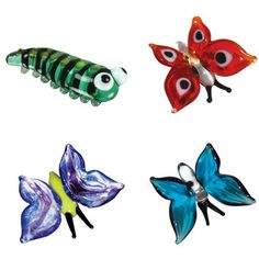 4 Piece Miniature Kate Caterpillar, Ruby Butterfly, Aqua Butterfly, Brittany Butterfly Figurine Set
