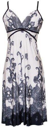 white/black paisley dress