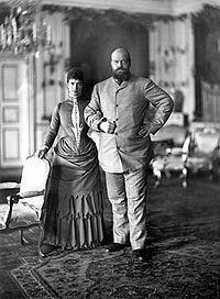 Empress Maria Feodorovna and her husband Emperor Alexander III vacationing in Copenhagen in 1893 - parents of Nicholas II