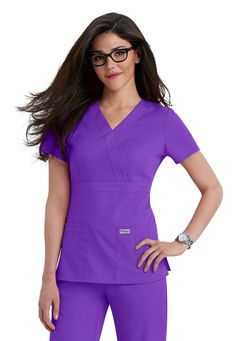 Greys Anatomy mock-wrap scrub top in Nectarine Dental Scrubs, Medical Scrubs, Nursing Scrubs, Scrubs Outfit, Scrubs Uniform, Spa Uniform, Cute Scrubs, Red Scrubs, Greys Anatomy Scrubs