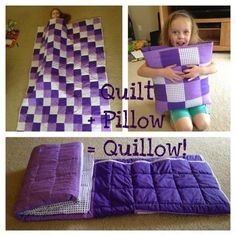 Quilt + Pillow = Quillow. This is so cool, would love to make one of these. . a quilt that turns into a pillow!