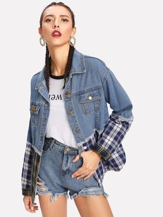 To find out about the Plaid Contrast Drop Shoulder Denim Jacket at SHEIN, part of our latest Denim Jackets ready to shop online today! Japan Fashion, Fashion Week, Fashion Jeans, Denim Ideas, All Jeans, Denim And Lace, Denim Fabric, Blue Fabric, Denim Outfit