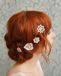 Lace hair accessories, wedding bobby pins, bridal hair pins, crochet and pearls - attic treasures. $25,00, via Etsy.