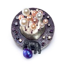 "Shirly Bar-Amotz. Brooch: From the series ""Happy Days"", 2012. Sterling silver, brass, Teflon plating, pearls, zircon gems, epoxy resin, Acrylic paint. 6 x 5 x 5.2 cm."