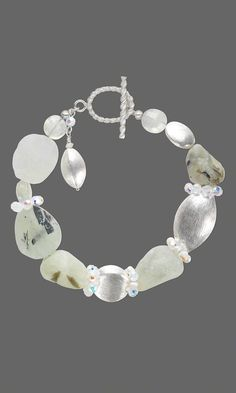 Jewelry Design - Bracelet with Sterling Silver Brushed Beads, Prehnite Gemstone Beads and Swarovski Crystal Beads - Fire Mountain Gems and Beads
