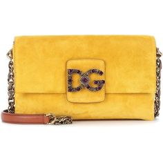 Dolce & Gabbana DG Millennials Suede Shoulder Bag ($2,275) ❤ liked on Polyvore featuring bags, handbags, shoulder bags, yellow, suede shoulder bag, suede leather handbags, shoulder bag handbag, shoulder hand bags and yellow handbags