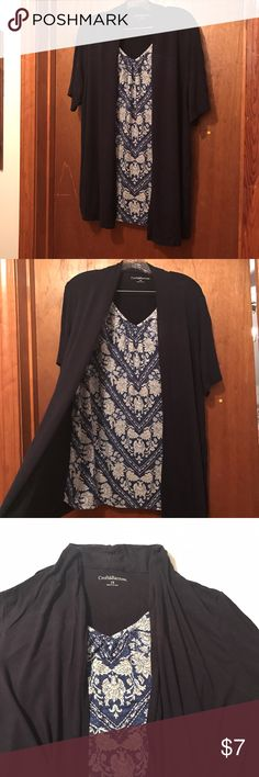 One piece short sleeve cardigan and tee combo Adorable flowy top. One piece with two piece feel. Short sleeve navy wrap with floral inlay. Size 1X croft & barrow Tops Tunics