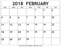 14 Best Free Printable Calendars February 2018 Images Free