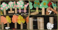 This post is an Book + Activity post and the book is Forever friends. We made Toilet paper roll trees. You flip the tree for Four seasons. Spring Activities, Learning Activities, Activities For Kids, Kid Activites, Block Center, Block Area, Preschool Crafts, Crafts For Kids, Tree Study
