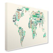 World Map Text Montage Canvas