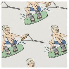 Waterskiing Wakeboarding Cotton Fabric