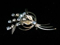 Vintage 40s50s Blue n white rhinestone Brooch by dagutzyone, $25.00
