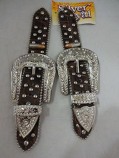 Pr Belt Spur Straps Remington Bullet Spot Silver Royal Buckle Rodeo Bling 1 1/2""