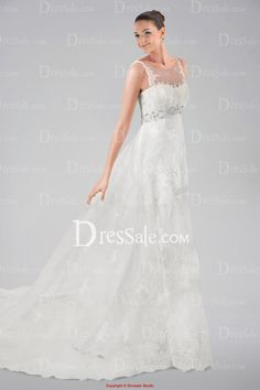 Romantic Illusion Neckline Wedding Dress with Lace Overlay and Beaded Waistband