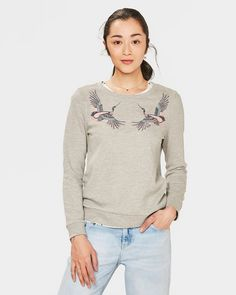 SWEAT-SHIRT A APPLICATION ANIMALIERE FEMME Gris clair