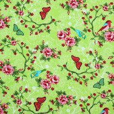 Kinderstoffe Baumwoll - Vogel Auf Blumen Lime