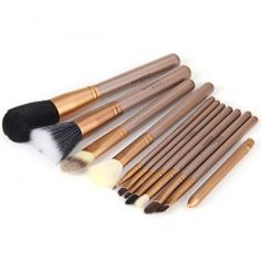 12Pcs Naked Makeup Brushes Soft Cosmetic Face Brush Kit with Zippered Leather Pencil Bag